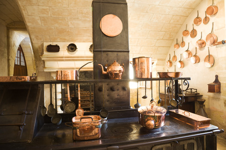 castle interior: Old Kitchen from Chenonceau Chateau, France Editorial
