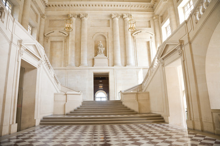 Great hall and staricase of Versailles Chateau. France