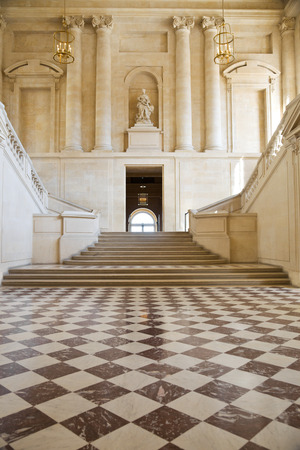 great hall: Great hall and staricase of Versailles Chateau. France