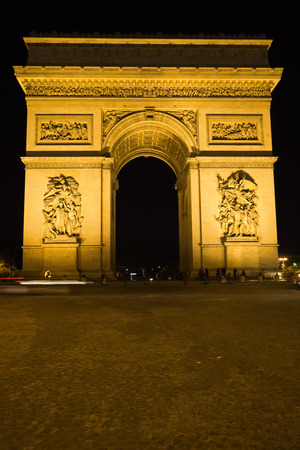 triumphal: The Arc of Triomphe at night, Paris. France