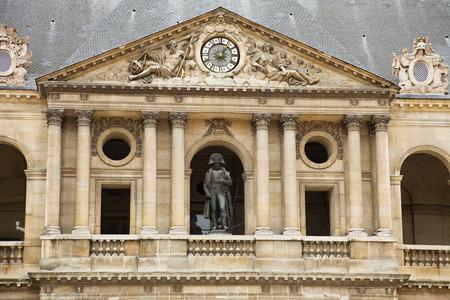 invalides: Napoleon statue in the balcony of Les Invalides, Paris. France Editorial