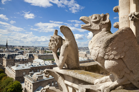 gargoyle: Notre Dame of Paris:  Famous Chimeras overlooking the skyline of Paris at a summer day