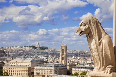 st jacques: Notre Dame of Paris: Chimera (bird shape) overlooking the skyline of Paris at a summer day. Can see the Sacre Coeur and St Jacques tower Stock Photo