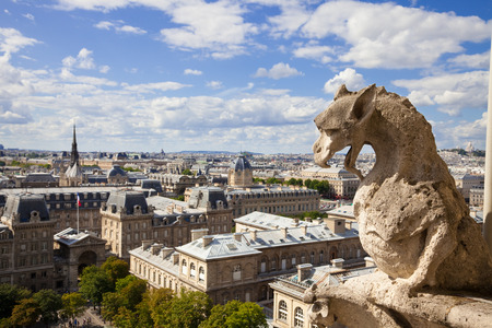 saint jacques: Notre Dame of Paris: Chimera (dragon) overlooking the skyline of Paris at a summer day