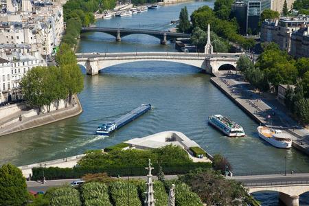 ile de la cite: Aerial view of the river Seine. Corner of the Ile de la Cite in Paris