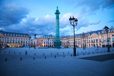 Panoramic of Vendome square of Paris at twilight. France Stock Photo