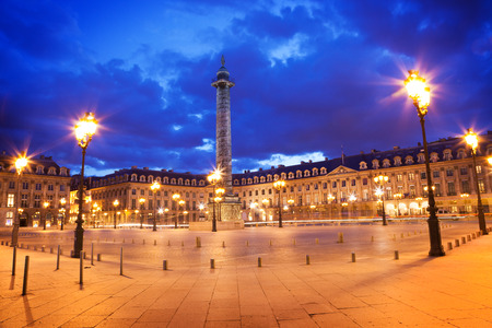 Panoramic of Vendome square of Paris at night. France