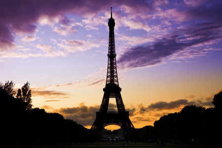coloful: Eiffel Tower against a coloful sunset Stock Photo