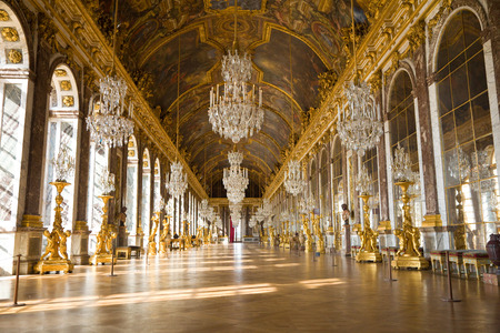 hall: Versailles, France - July 26, 2009: Mirrors hall of Versailles Chateau. General view, nobody visible