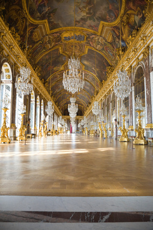 Versailles, France - July 26, 2009: Mirrors hall of Versailles Chateau. General view, nobody visible