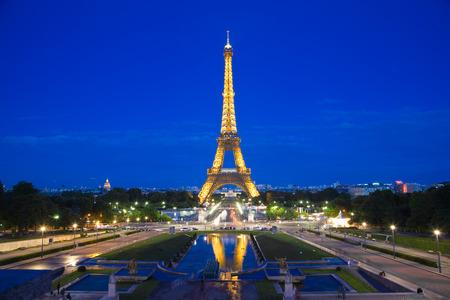 paris night: Paris, France - July 24, 2009: Eiffel Tower illuminated at night, View from Trocadero Editorial