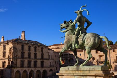 Equestrian statue of Francisco Pizarro (conqueror of Peru) in Trujillo main square, province of Caceres, Spain