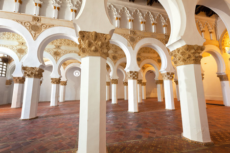 Interior of Santa Maria la Blanca Synagogue in Toledo, Spain. Erected in 1180 and considered the oldest synagogue building in Europe still standing Editorial