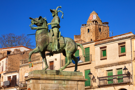 conqueror: Equestrian statue of Francisco Pizarro (conqueror of Peru) in Trujillo main square, province of Caceres, Spain