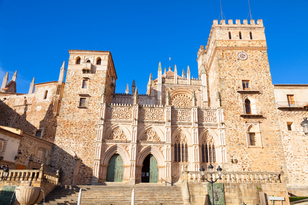 monastery: Gothic facade of the Royal Monastery of Santa Maria de Guadalupe, province of Caceres, Spain