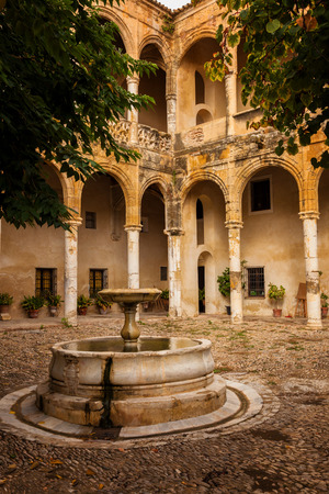 Courtyard in plateresque style. Palace-Castle de los Ribera in Bornos, province of Cadiz, Spain Editorial
