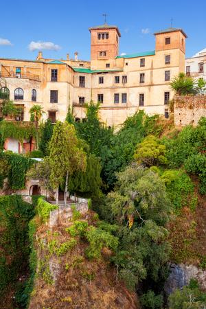 14th century: Palacio del Rey Moro and hanging gardens in Ronda, Spain. Palace of the Moorish King. 14th Century moorish palace