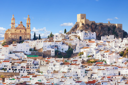 Panoramic of Olvera, considered the gate of white towns route in the province of Cadiz, Spain