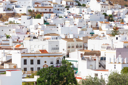 Arcos de la Frontera, tipycal Andalusian white town of intrincate architecture. Province of Cadiz, Spain Standard-Bild