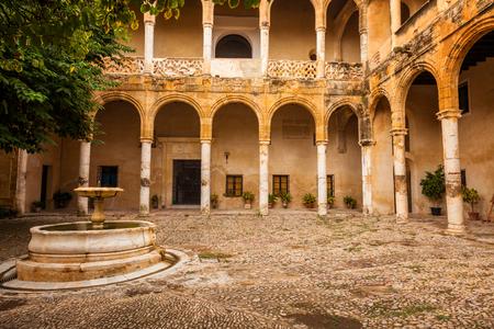cadiz: Courtyard in plateresque style. Palace-Castle de los Ribera in Bornos, province of Cadiz, Spain Editorial