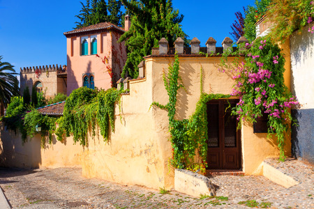 spanish homes: Old architecture of Albaicin neighborhood. Granada, Spain