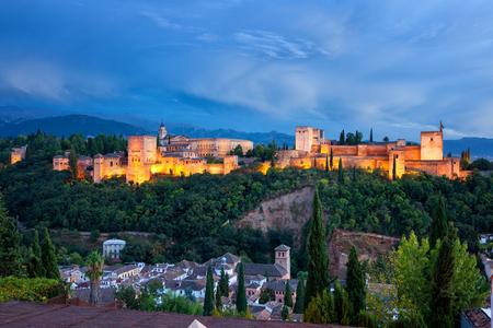 the  alhambra: Alhambra de Granada at twilight. Panoramic view from Albaicin neighborhood Editorial