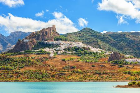 cadiz: Panoramic of Zahara de la Sierra over Guadalete river (forming Zahara reservoir). Typical white town in the province of Cadiz, Spain