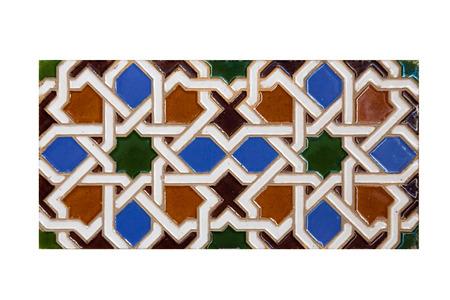 ceramica: azulejo de la vendimia adornado con motivos árabes
