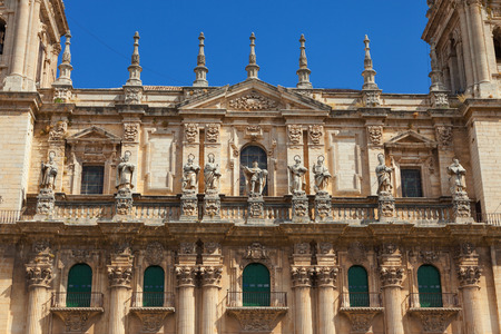 exterior shape: Main facade of Jaen Cathedral in a sunny day, Spain