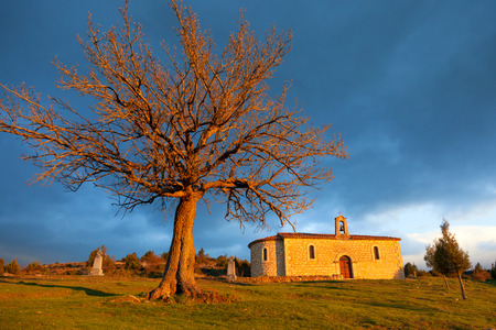 santo: Hermitage near Santo Domingo de Silos at sunset, province of Soria, Spain