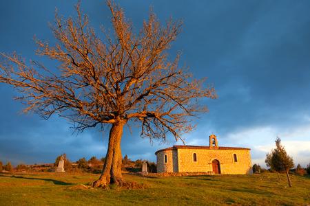 hermitage: Hermitage near Santo Domingo de Silos at sunset, province of Soria, Spain