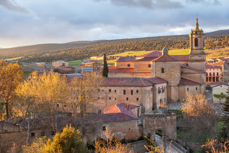 spanish homes: Monastery of Santo Domingo de Silos at sunset, in the province of Burgos, Spain