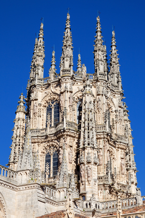 continued: Gothic Cathedral of Saint Mary in Burgos, Spain. Its construction began in 1221 but work continued off and on until 1567. Stock Photo