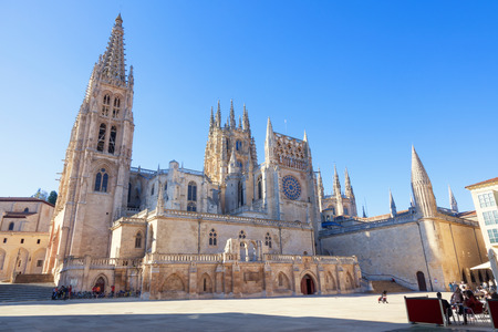 continued: Gothic Cathedral of Saint Mary in Burgos, Spain. Its construction began in 1221 but work continued off and on until 1567. Editorial