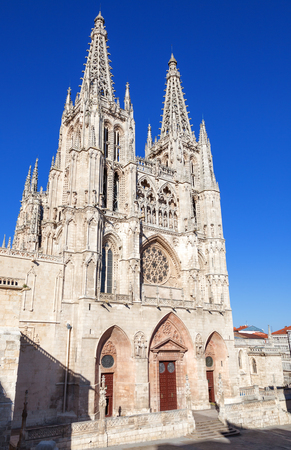 continued: Gothic Cathedral of Saint Mary in Burgos, Spain. Main facade. Its construction began in 1221 but work continued off and on until 1567.