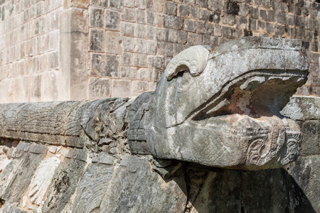 feathered: large column carved in feathered serpent motif on the Great ball court of Chichen Itza, Mexico