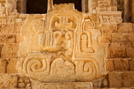 archeological site: Mayan glyphs at the Acropolis. Mayan archeological site of Ek Balam (black jaguar) in Yucatan, Mexico