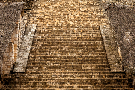 Staircase of the Acropolis. Mayan archeological site of Ek Balam (black jaguar) in Yucatan, Mexico Stock Photo