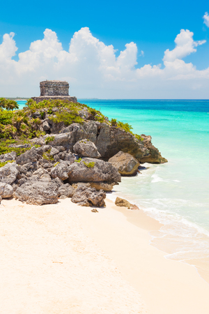 riviera maya: God of Winds Temple on turquoise Caribbean sea. Ancient Mayan ruins in Tulum, Mexico