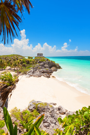 maya: God of Winds Temple on turquoise Caribbean sea. Ancient Mayan ruins in Tulum, Mexico