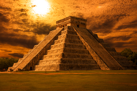 El Castillo Kukulkan Temple of Chichen Itza, mayan pyramid in Yucatan at sunset, Mxico