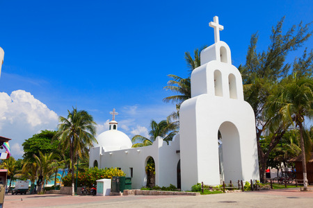 Typical white Mexican church in Playa del Carmen, Quintana Roo, Mexico