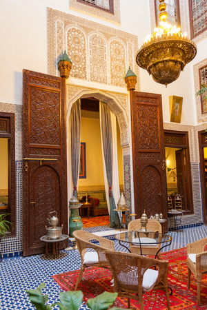 Fez, Morocco - September 18, 2015: Courtyard of Cordoba Riad, a nice example of traditional arabesque decoration. Nobody visible Redakční