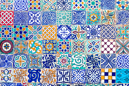ceramic: mosaic formed by tiles of different designs