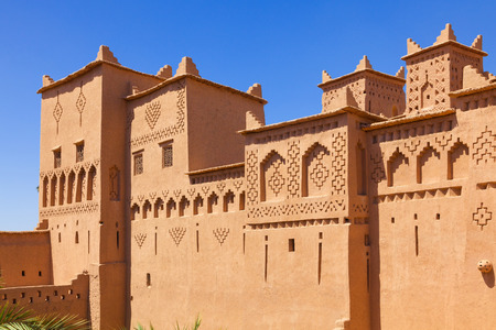 tower house: Amridil (orAmerhidil) kasbah in Skoura palm grove, Morocco. Traditional adobe architecture built in17 Century