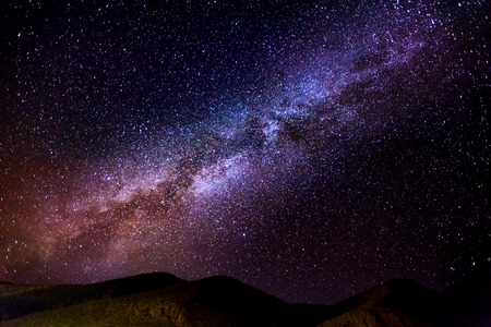 The Milky Way. Image taken in Morocco at summer 스톡 콘텐츠