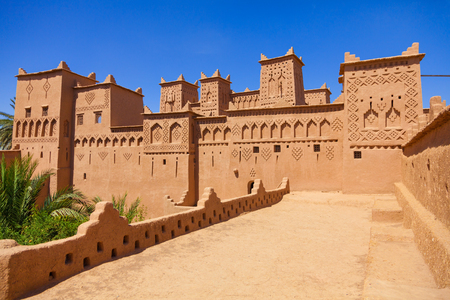 Amridil (orAmerhidil) kasbah in Skoura palm grove, Morocco. Traditional adobe architecture built in17 Century