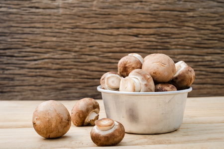 button mushroom: European food concept mushroom soup with champignon set up with brown background. Champignon mushroom or Button mushroom they are available year-round. Can be made a soups, salads or eaten raw. Stock Photo