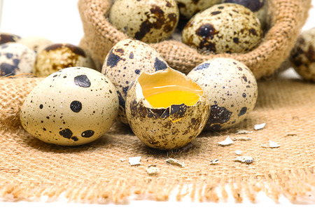 huevos de codorniz: Quail eggs in hemp sack on white background.  Quail eggs has high level of vitamin A and B2