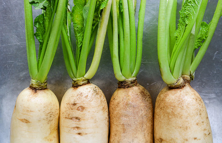 asian flavors: Fresh white radish. Radish is root vegetable has a lot of health benefit.